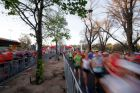 Runners set out from the start line for the Melbourne Marathon.