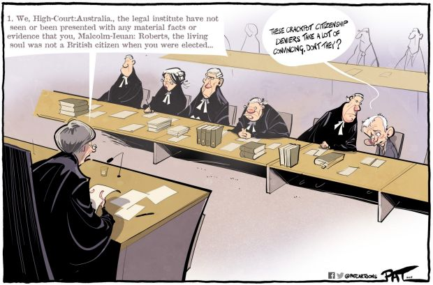The Canberra Times editorial cartoon for Monday, October 16, 2017. High court Malcolm Roberts citizenship case.