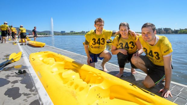 Winners of the inaugural Lake Burley Griffin Water Week Challenge Cup Ben Kirker, Morgan Evans, and Ben O'Sullivan.
