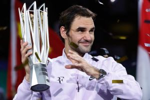 Roger Federer celebrates after defeating Rafael Nadal in the final of the Shanghai Masters.