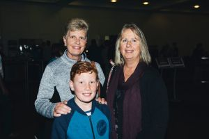 Marg Harbour, of Yendon Victoria with Lachlan Tapscott, 9, of Bonner, and Lorraine Tapscott, of Alice Springs