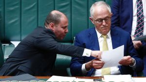 Minister for Environment and Energy Josh Frydenberg and Prime Minister Malcolm Turnbull during Question Time at ...