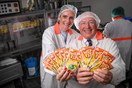Yes, lollies are still made in Australia: Terry Campbell, right, chairman of Fyna Foods - which makes Wizz Fizz - with ...
