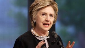 FILE - In this June 5, 2017 file photo, former Secretary of State Hillary Clinton speaks in Baltimore. Clinton says ...