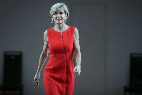 Foreign Affairs Minister Julie Bishop arrives to address the media at Parliament House in Canberra on Tuesday