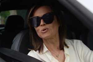 Lisa Wilkinson leaves her Sydney house on Tuesday morning.