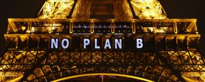 """NO PLAN B"" is projected on the Eiffel Tower as part of the Climate Change Conference in Paris, 2015."