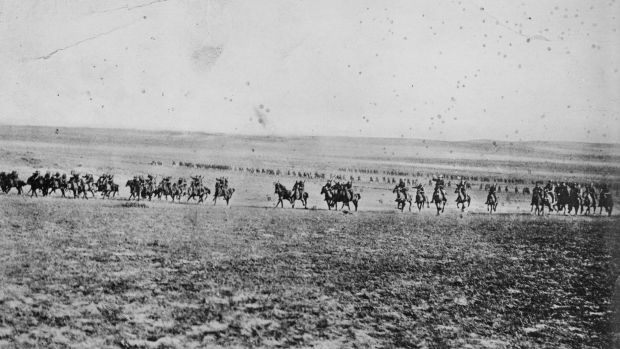 A photograph once believed to depict the charge of the 4th Light Horse Brigade at Beersheba on October 31, 1917. It is ...