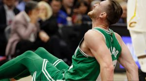 Celtics Gordon Hayward grimaces in pain after an awkward fall left him badly injured.