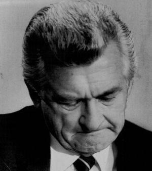 Bob Hawke breaks down during a press conference in Canberra in 1984. His daughters' struggles with drugs were viewed ...