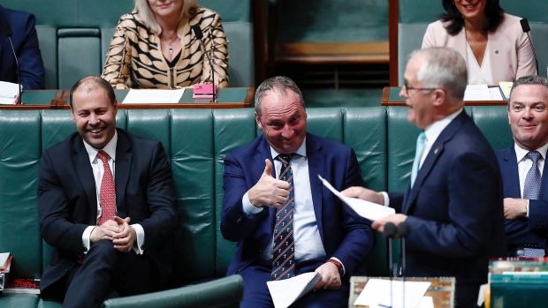 Environment and Energy Minister Josh Frydenberg, Deputy Prime Minister Barnaby Joyce and Prime Minister Malcolm Turnbull ...
