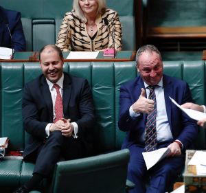 Minister for Environment and Energy Josh Frydenberg, Deputy Prime Minister Barnaby Joyce and Prime Minister Malcolm ...