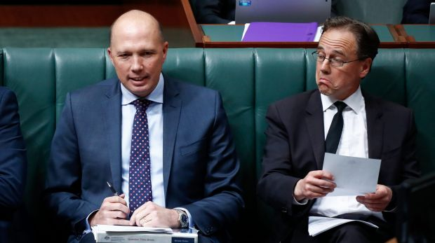 Immigration Minister Peter Dutton and Health Minister Greg Hunt during question time on Wednesday.