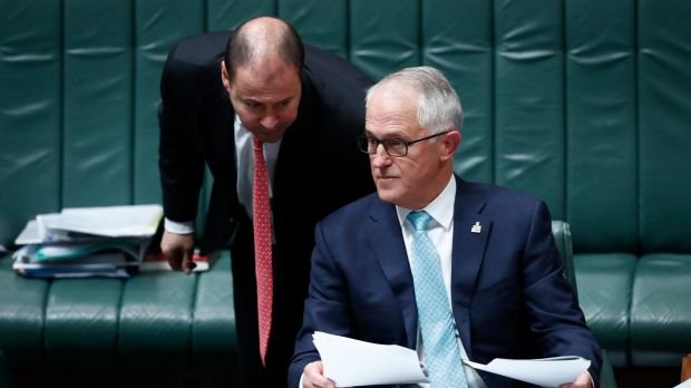 Energy Minister Josh Frydenberg and Prime Minister Malcolm Turnbull during Question Time at Parliament House in Canberra ...
