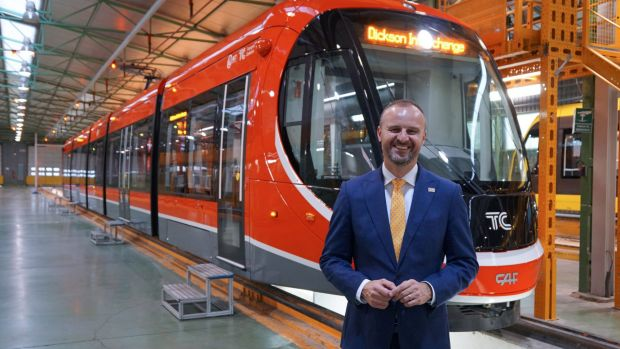 Andrew Barr this week with one of Canberra's new light-rail trains on the production line in Spain.