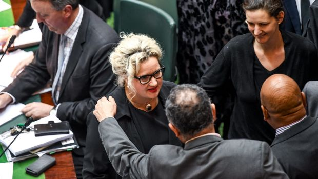 Health Minister Jill Hennessy is congratulated after the passing of the voluntary euthanasia  bill in Victoria's ...
