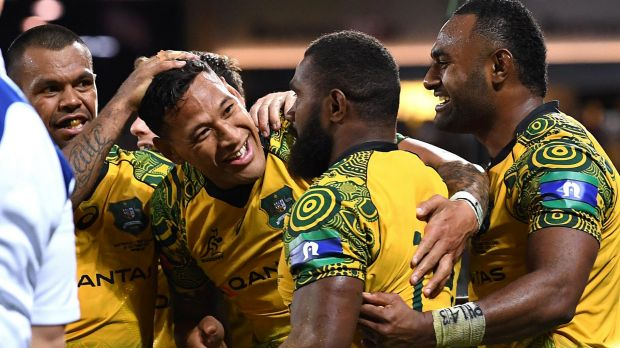 Special night: Israel Folau played a leading hand for the Wallabies.