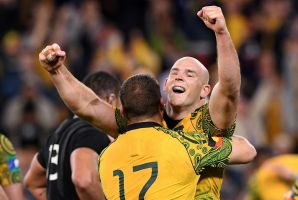 Stephen Moore celebrates after the Wallabies' win over the All Blacks.