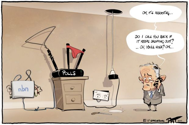 The?Canberra Times editorial cartoon for Monday, October 23, 2017. Malcolm Turnbull. polls. NBN.