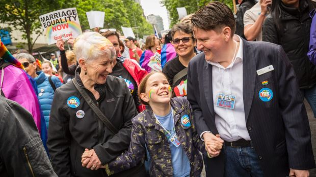 Victorian Commissioner for Gender and Sexuality Ro Allen (right), her partner Kaye Bradshaw and their daughter, Alex ...