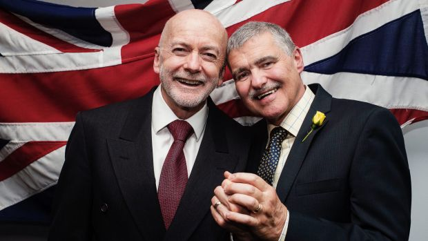 Bill (L) and John (R) marry at the British Consulate in Sydney.