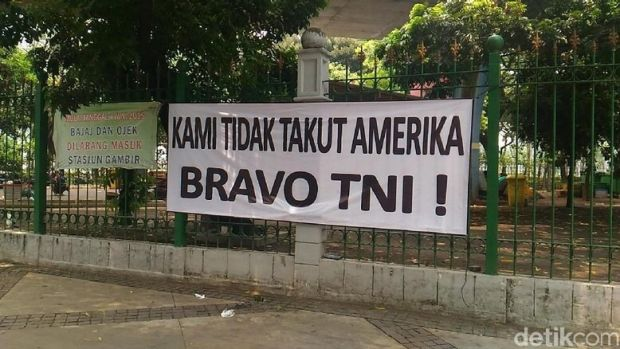 A banner in Jakarta proclaiming 'We are not afraid of America. Bravo National Armed Forces'. It was posted following the ...