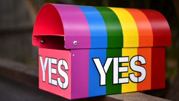 A message in support of a Yes vote in the marriage equality postal survey seen on a mailbox in Sydney's inner west.