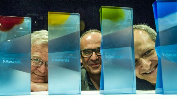 From left, ANU vice-chancellor  Brian Schmidt, head of glassworks Richard Whiteley, and head of music Kenneth Lampl ...