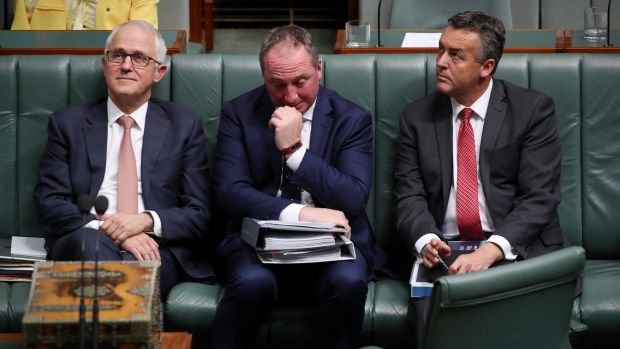 Prime Minister Malcolm Turnbull, Deputy Prime Minister Barnaby Joyce and Transport Minister Darren Chester during ...