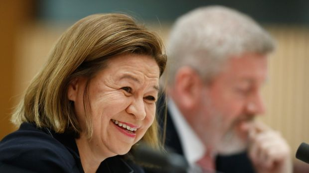 ABC managing director Michelle Guthrie and Communications Minister Mitch Fifield during a Senate estimates hearing on ...