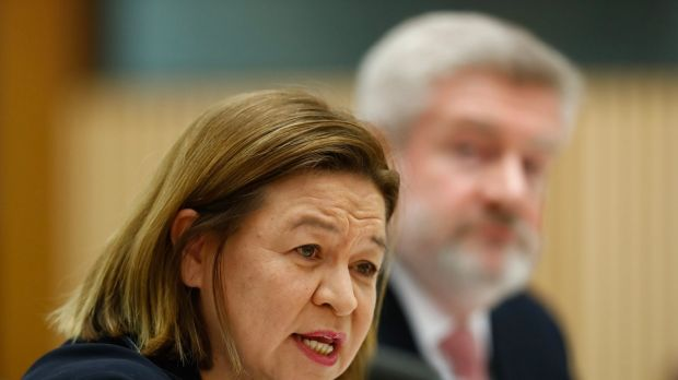 The managing director of the ABC, Michelle Guthrie, Communications Minister Mitch Fifield during a Senate estimates ...