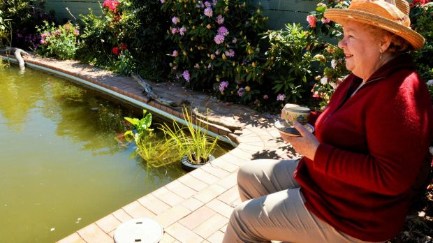 Margaret OCallaghan enjoys a cuppa overlooking her backyard pool which she has converted into a giant fish pond.