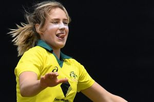 Ellyse Perry celebrates the wicket of Katherine Brunt.