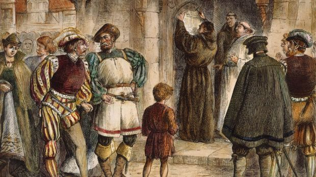 An artist's depiction of Martin Luther nailing his 95 Theses to the door of Wittenberg Castle Church in October 1517.