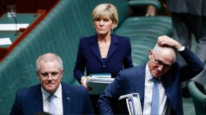 Treasurer Scott Morrison, Minister for Foreign Affairs Julie Bishop and Prime Minister Malcolm Turnbull.