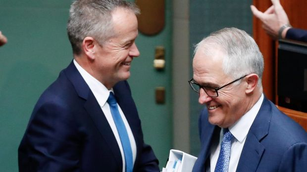 Prime Minister Malcolm Turnbull and Opposition Leader Bill Shorten were at loggerheards over a raid on the office of the ...