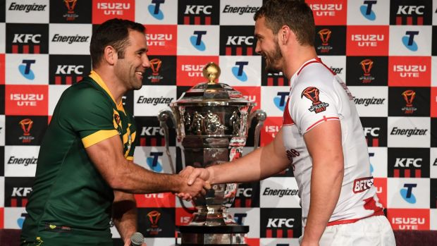 Australian captain Cameron Smith and England's Sean O'Loughlin at the launch of the Rugby League World Cup, but the ...