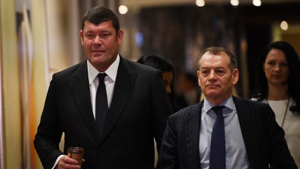 """James Packer, left, and Crown executive chairman John Alexander, who said Crown was """"delighted"""" that the two women had ..."""
