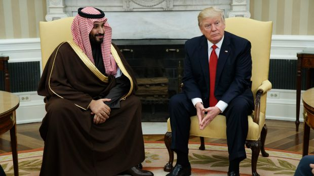 Then Saudi Defence Minister and Deputy Crown Prince Mohammed bin Salman in the Oval Office with US President Donald ...