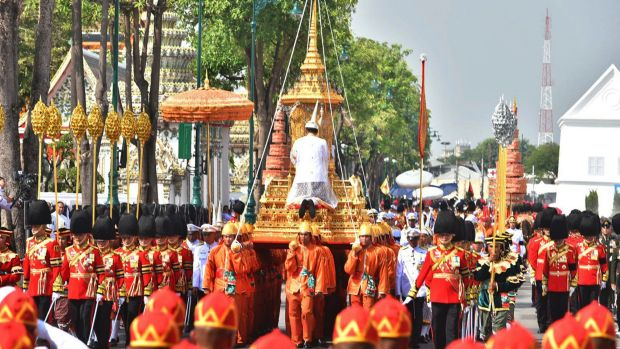 The ceremony began with the transfer of the remains of King Bhumibol Adulyadej to his spectacular golden crematorium on ...