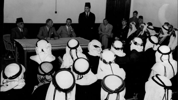 Beersheba, April 1947: the British High Commissioner in Palestine, Sir Alan Cunningham (seated at centre of table), ...