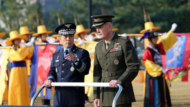 Chairman of the US Joint Chiefs of Staff, General Joseph Dunford, right, and Chairman of the South Korean Joint Chiefs of Staff General Jeong Kyeong-doo in Seoul earlier this month for their Military Committee Meeting. — Photograph: Associated Press.