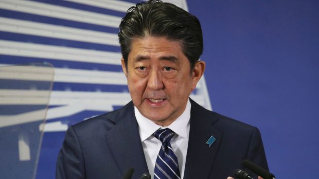 Japan's Prime Minister Shinzo Abe. Tokyo is weighing its strategic options in response to the Korean crisis. — Photograph: Associated Press.