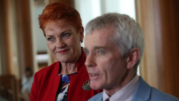 Malcolm Roberts with Senator Pauline Hanson after the High Court ruled him ineligible for Parliament.