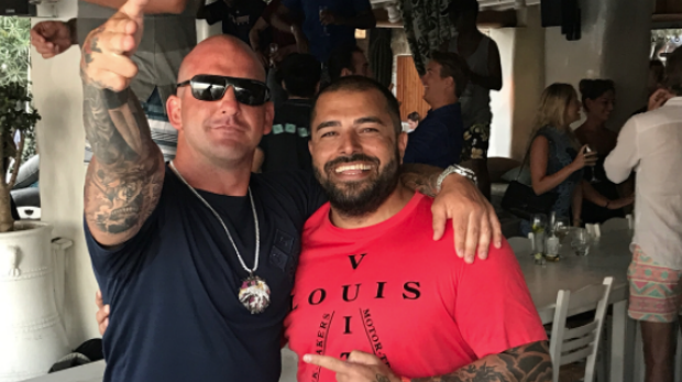 Comanchero boss Mark Buddle (left) with Ali Bazzi in the Mediterranean. Buddle has sent Bazzi home to take charge of the ...
