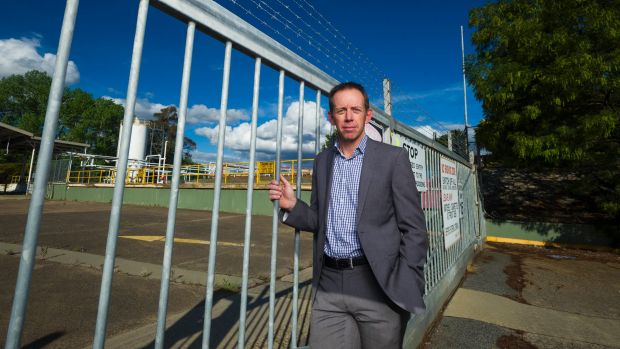 Shane Rattenbury stands outside the proposed Capital Recycling Solutions site.