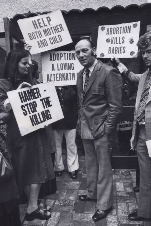 Protests outside the East Melbourne clinic have been going for decades. This photo, taken in 1976, shows Dr Bertram ...