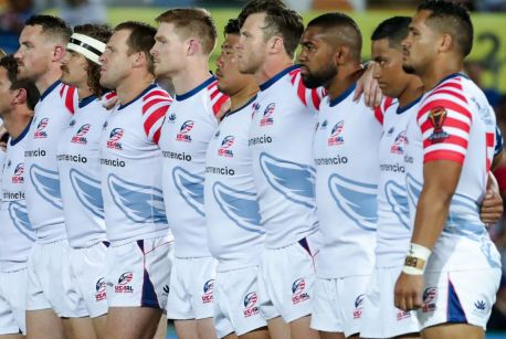 Stars and stripes: The USA team lines up before taking on Fiji during the recent World Cup.