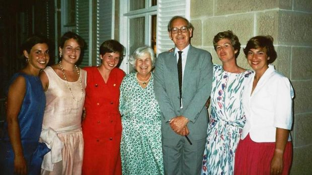 Sir Ninian Stephen with Valery and their five daughters Elizabeth, Jane, Sarah, Ann and Mary on New Year's Eve 1986.