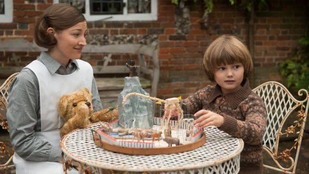 Nanny Olive (Kelly Macdonald) explains to young Christopher why his father's books are so popular.